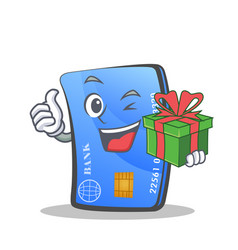 Credit card character cartoon with gift vector