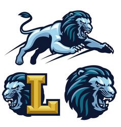 Crouching lion mascot vector
