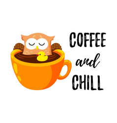 cute cartoon owl bathes in a cup of coffee vector image