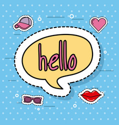 cute speech bubble hello decoration sticker vector image