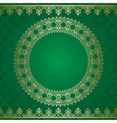 dark green background with golden ornament vector image