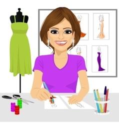 Designer drawing dress design sketches vector