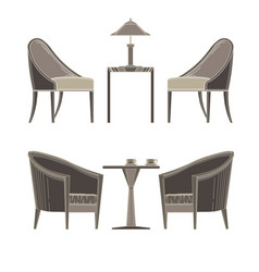 Dining table two restaurant and chairs flat style vector