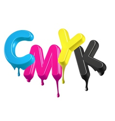 Dripping wet paint 3d CMYK letters vector image
