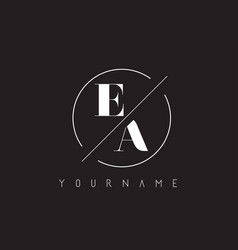 Ea letter logo with cutted and intersected design vector