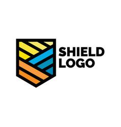 elegant linear shield logo design template lion vector image