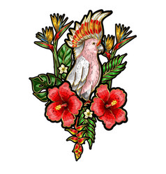 embroidered patches parrot with flowers vector image