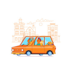 family journey by car to natureflat vector image