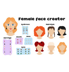 female face constructor set vector image