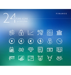 Financial outline icons set vector