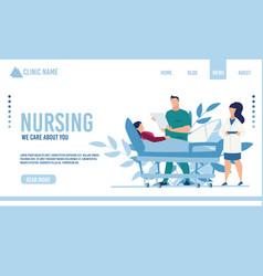 Flat landing page advertising nursing service vector