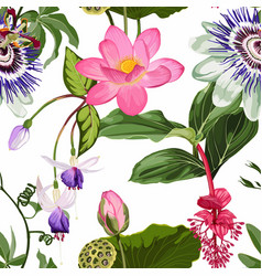 floral seamless pattern exotic tropical flowers vector image