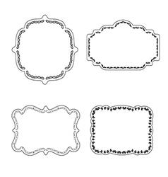 Frame labels set ornamental vintage decoration vector