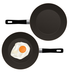 Fried egg on frying pan vector