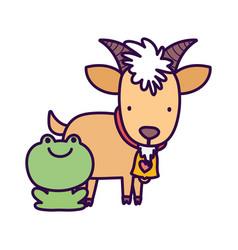 Goat bovine and frog farm cartoon animal vector