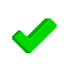 Green check mark icon in pixelated style vector