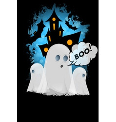 Halloween Poster with Ghosts vector