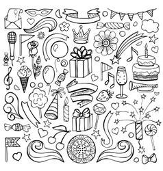 Happy birthday hand drawn set vector