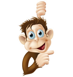 happy cartoon monkey pointing vector image