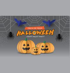 happy halloween night party pumpkin spider bat vector image