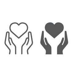 heart in hands line and glyph icon love and care vector image