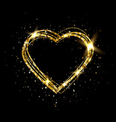 Heart with gold light glitter golden heart frame vector