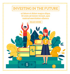 investment scene with young boy and girl holding vector image