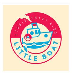 Kids club logo with little boat cute kindergarten vector