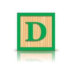 Letter D wooden alphabet block vector