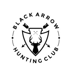 Logo hunting club black arrow vector