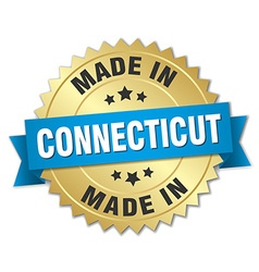 Made in Connecticut gold badge with blue ribbon vector