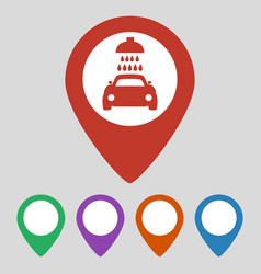 map pointer with car wash icon on grey background vector image