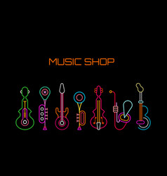 music shop neon sign vector image vector image