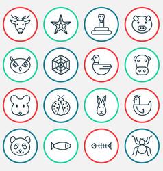 nature icons set with arachnid spider web rabbit vector image