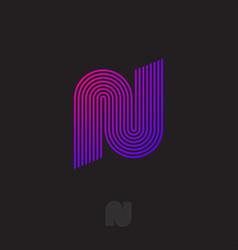 network logo n monogram thin strips linear icon vector image