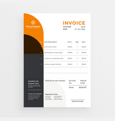 Orange and black business invoice template design vector
