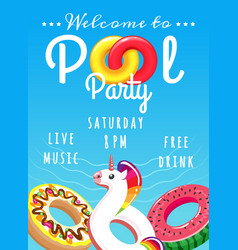 pool party poster for kids vector image