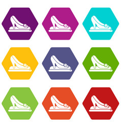 Princess shoes icons set 9 vector