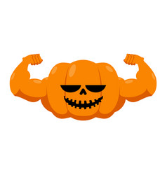 Pumpkin with muscles fitness halloween vegetable vector