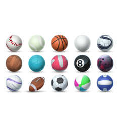 realistic sport balls 3d equipment for football vector image