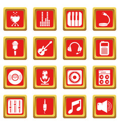 Recording studio symbols icons set red square vector