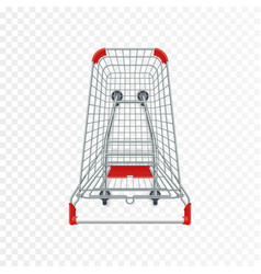 Red supermarket shopping cart 3d top view vector