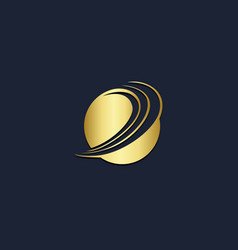 round planet technology gold logo vector image