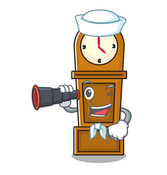 Sailor with binocular grandfather clock mascot vector
