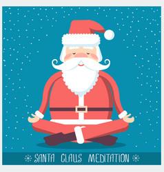 santa claus doing yoga meditation christmas vector image