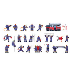 set brave firemen in different poses firefighters vector image