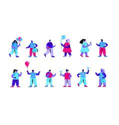 set kindergarten children playing vector image