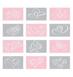 set love valentines day cards templates vector image