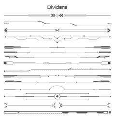 Set of black hud dividers infographic elements vector