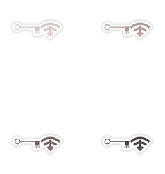 Set of paper sticker on white background Wi fi key vector image